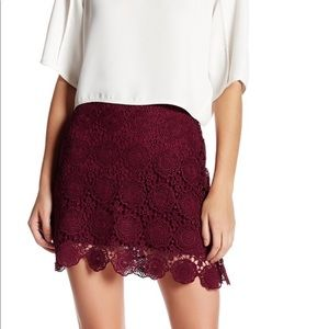 Want & Need Lace Skirt (Burgundy)
